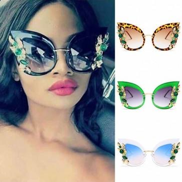 Vintage large lens crystal cat eye oversize sunglasses