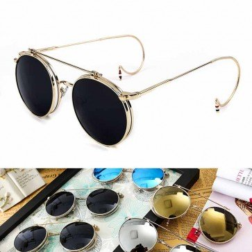 Vintage chic sunglasses distinctive round flip up lens