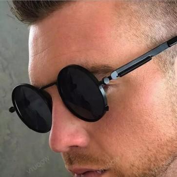 Steam punk vintage round sunglasses mirror tinted lens