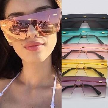 Futuristic flat top one piece big lens mask sunglasses