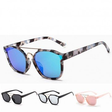 Smoke lenses double-bridge cool rectangle sunglasses