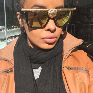 Cat eyes shades high pointed frame lion head sunglasses