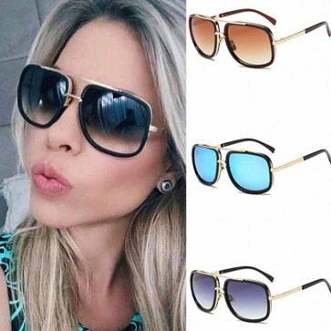 Stylish Oversized Gold Tone Metal Aviator Sunglasses