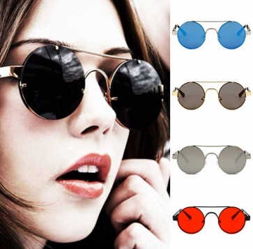 Dapper vintage punk sunglasses circle flat lens shades