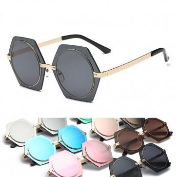 Retro hippie steampunk circle retro hexagon sunglasses