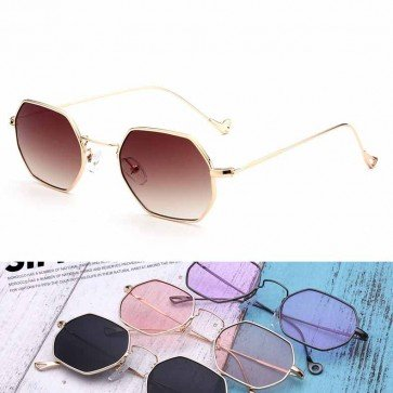 Vintage Small Size Thin Rim Octagon Sunglasses