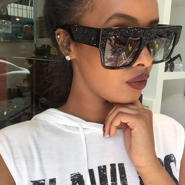 Bold Oversize Retro Square Thick Frame Bling Sunnies