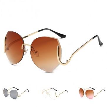 Rimless sunglasses gradient big optics oversize sunnies