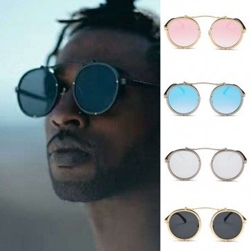 Vintage chic distinctive round steampunk sunglasses