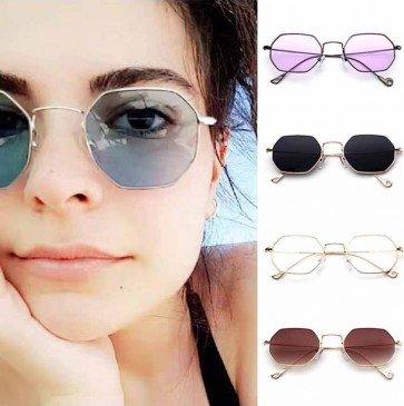 Vintage Small Size Thin Rim Octagon Sunglasses