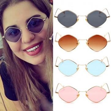 Rhombus Metal Framed Sunglasses Retro Small Size Lens