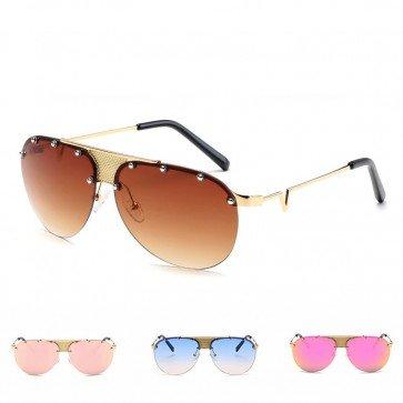 Metal Frame Sunglasses Silver Tone Rivets Rimless Lens