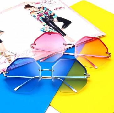Translucent lens rimless octagon oversize sunglasses
