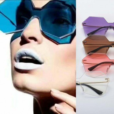 Heptagon Sunglasses Faceted Rimless Gradient Tint Lens