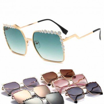 Polka dot embellished rectangle oversize sunglasses