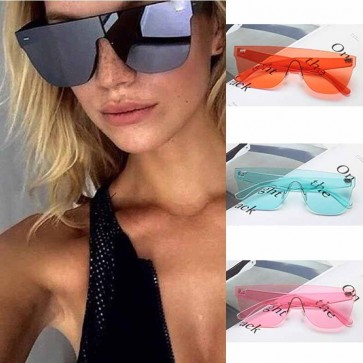 One Piece Lens Tear Drop Shaped Flat Top Sunglasses
