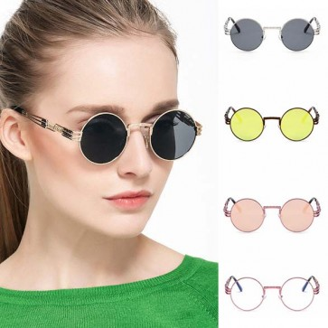 Unisex Vintage style Steampunk Round Sunglasses