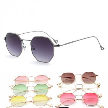 Premium wire metal frame candy color lens sunglasses