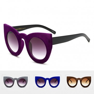 Velvet Skin Gradient Lens Cat Eye Oversize Sunglasses