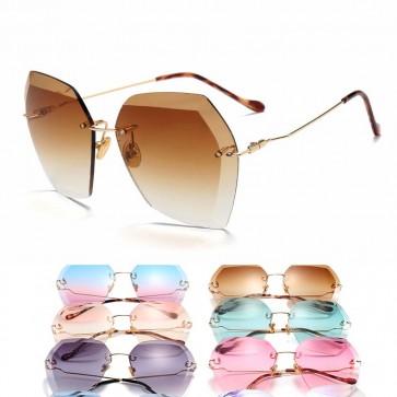 Oversize hexagon frames retro-chic rimless sunglasses