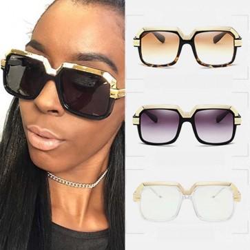 Oversize bold frame gold tone brow pilot sunglasses