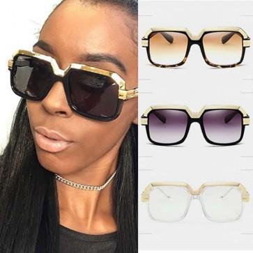 Gold Tone Top Bar Bold Frame Pilot Oversized Sunglasses