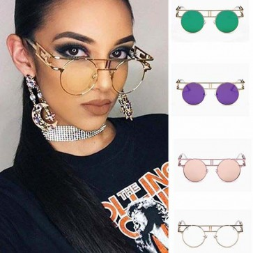 Flat Top Bar Vintage Steampunk Sunglasses Mirrored Lens