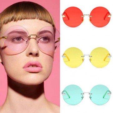 Oversized Large Translucent Round Flat Lens Sunglasses