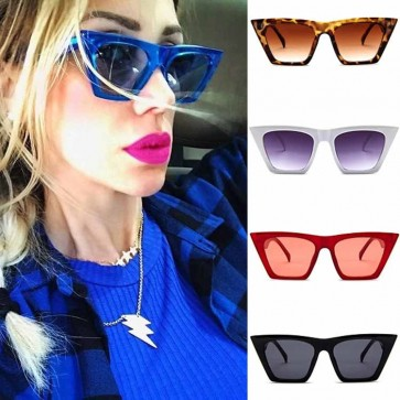 Cat Eye High Pointed Edge Tip Large Frame Sunglasses