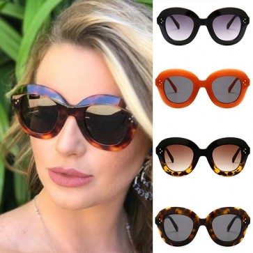 Modern super bold rimmed smooth oval curve sunglasses