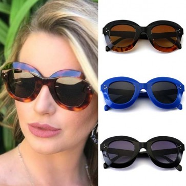 Modern super bold rimmed smooth oval curve sunglasses