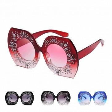 Retro party rhinestones bling oversized sunglasses
