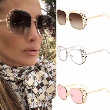 Gradient tint oversize sunglasses w/ crystals on sides