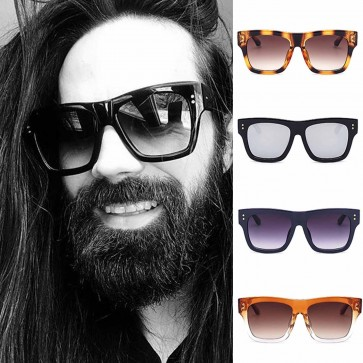 Unique Large Boxy Frame Flat Lens Catty Sunglasses