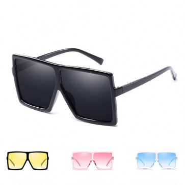 See-Through Tint Sunglasses Flat Top Oversized Frame