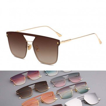 Modern Translucent Coating Flat Lens Aviator Sunglasses