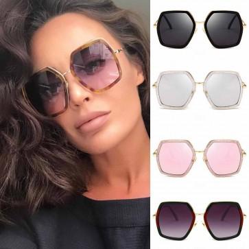 Colorful rim gradient tint hexagon oversize sunglasses