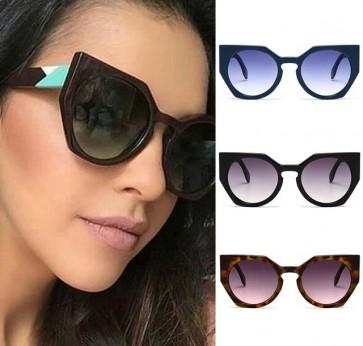 Celebrity retro acetate cat eyes tips round sunglasses