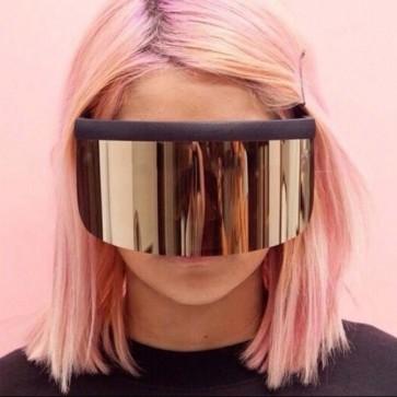 Futuristic muscular reflective lens shield sunglasses