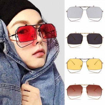 Oversize Metal Frame Flip Up Lens Heptagon Sunglasses