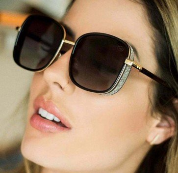 Square side coverage sunglasses oversized metal frame