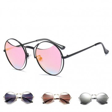 Wire Frame Round Steampunk Sunglasses Cut Out Lenses