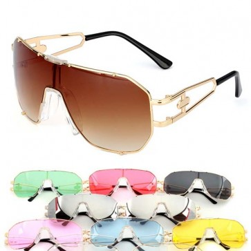 Modern flat top mono lens shield aviator sunglasses