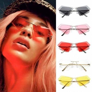 Quadrangle Rimless Double Lenses Cat Eye Sunglasses