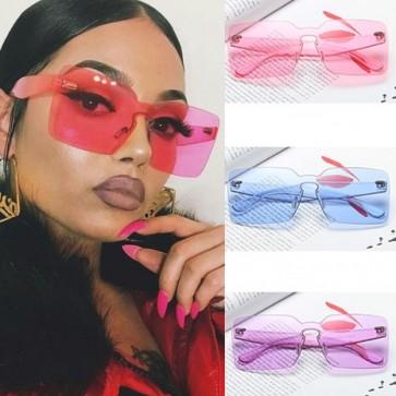 Oversized Rimless One Piece Lens Square Sun Glasses