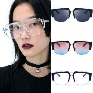 Half Frame Plastic and Wire Rim Aviator Sunglasses
