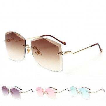 Modern architectural rimless see-through sunglasses