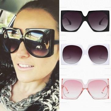 Modern big oval lens oversize boxy shaped sunglasses