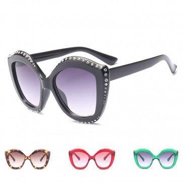 Oversized Rhinestones Cat Ear Sunglasses for Women