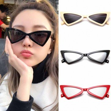 Modern cat eye sunglasses vibrant color tint flat lens